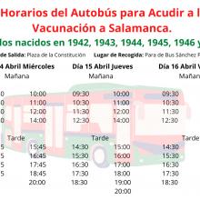 Nuevos horarios de Autobús para los próximos llamamientos a la Vacunación